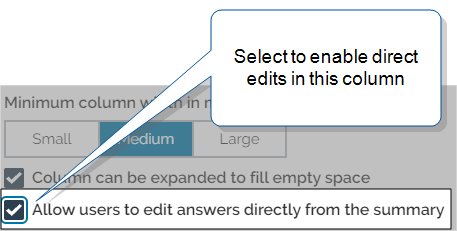 """Edit Table Column page with option to """"Allow users to edit answers directly from the summary table"""" selected"""
